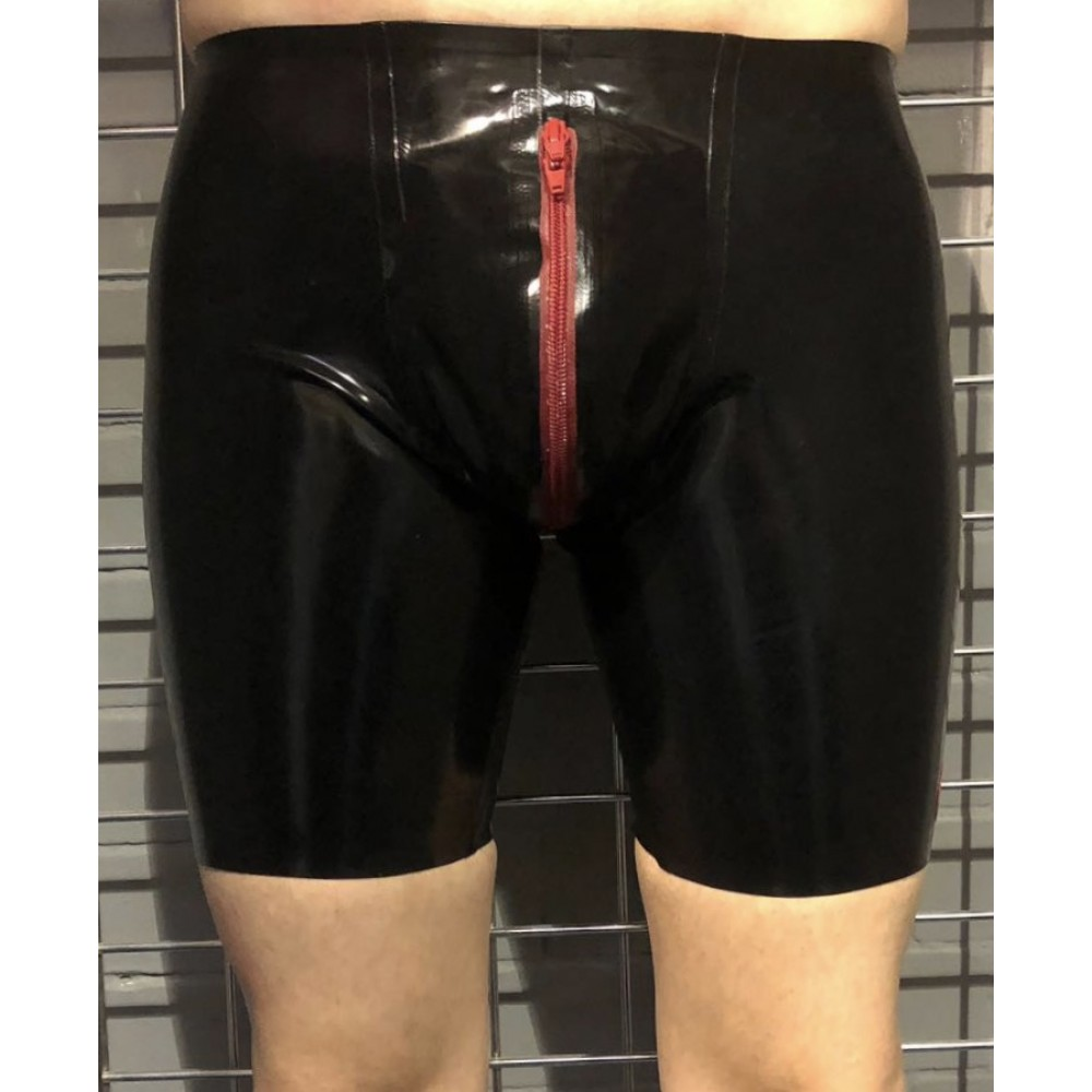 Rubber Cycle Shorts with a Red Pouch and a Contrasting Red Front Zip