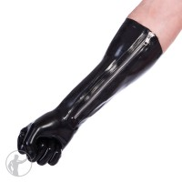 Rubber Elbow Length Gloves With Zip