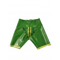 Rubber Backless Fucker Shorts In Vibrant Green With Yellow Trim Detail