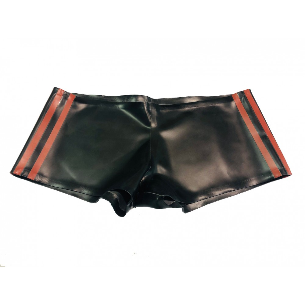 Rubber Boy Shorts With Contrasting Side Stripes Black