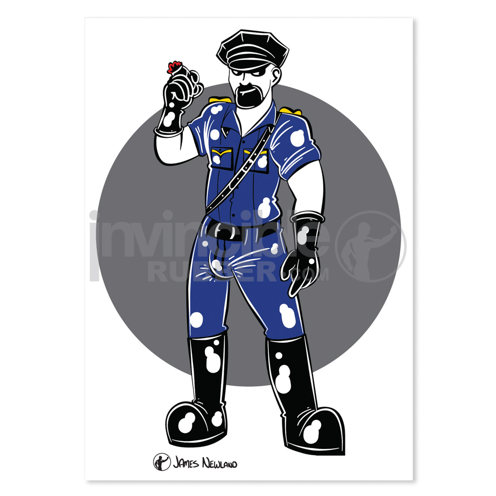 James Newland Greeting Card with Rubber Cop illustration
