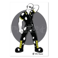 James Newland Greeting Card with Rubber Skinhead illustration