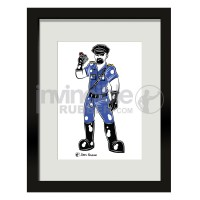 James Newland Framed Print With Rubber Cop Illustration