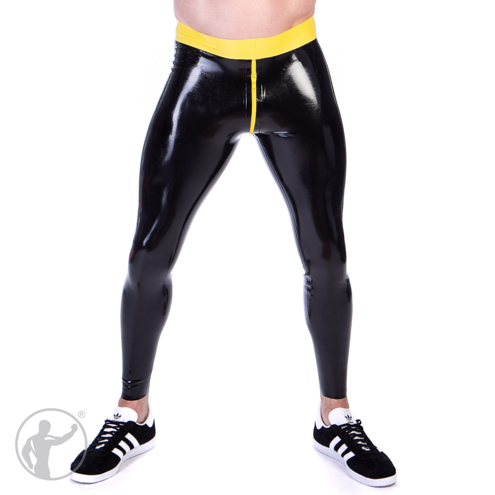 Rubber Sports Leggings With Thru Zip