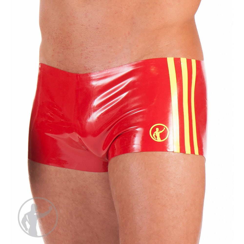 Rubber Boy Shorts With Contrasting Side Stripes Red Yellow