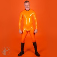 Rubber Neck Entry Catsuit With Cod Piece