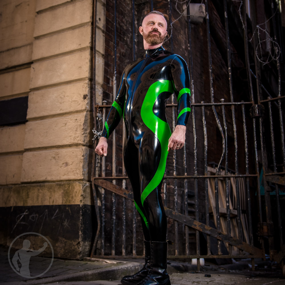 Rubber Vortex Catsuit With Thru Zip