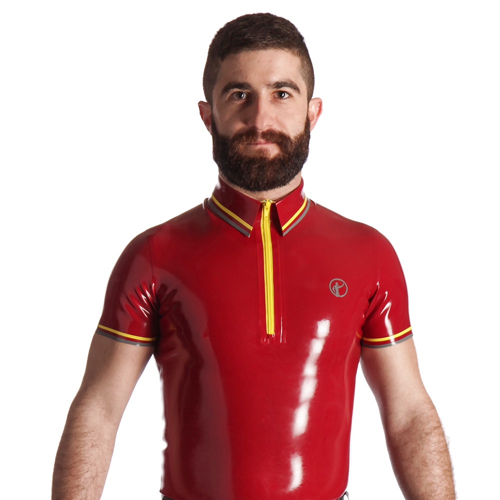 Rubber Zip Front Polo Shirt