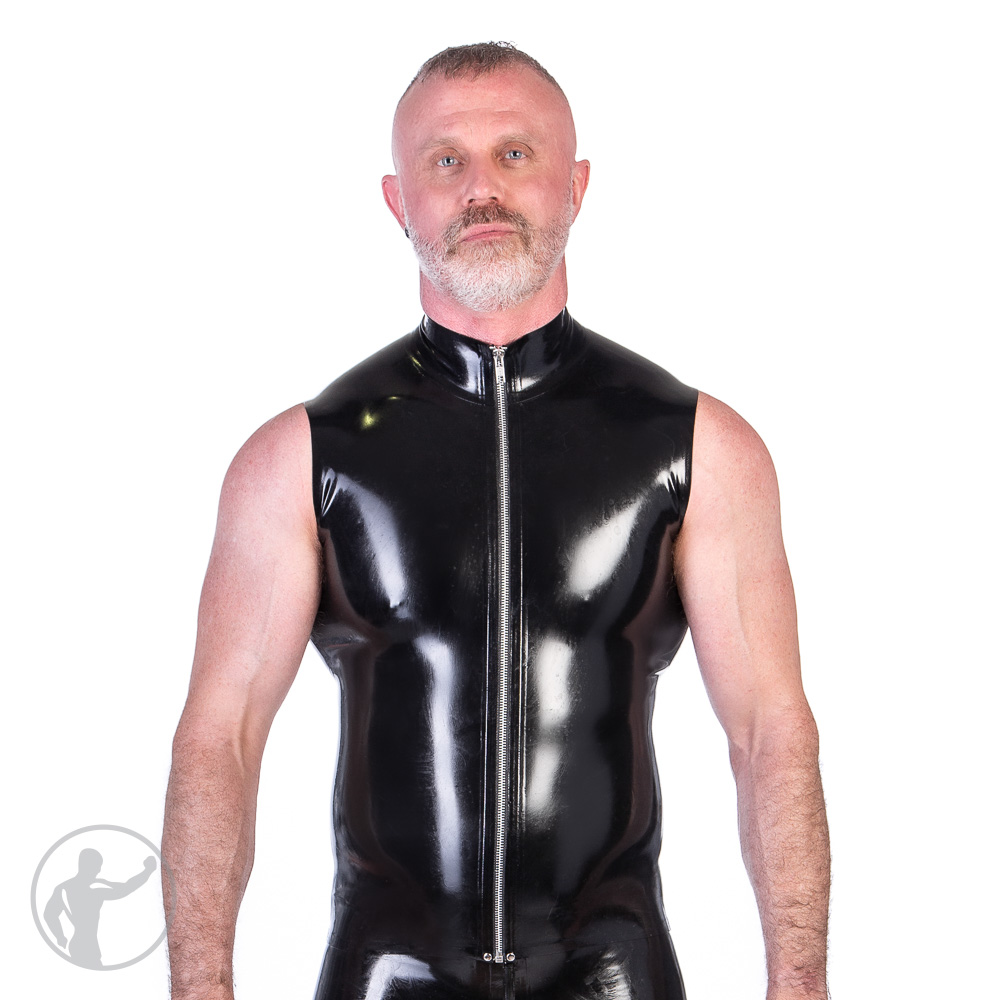 Rubber Sleeveless Zip Up Top With Collar