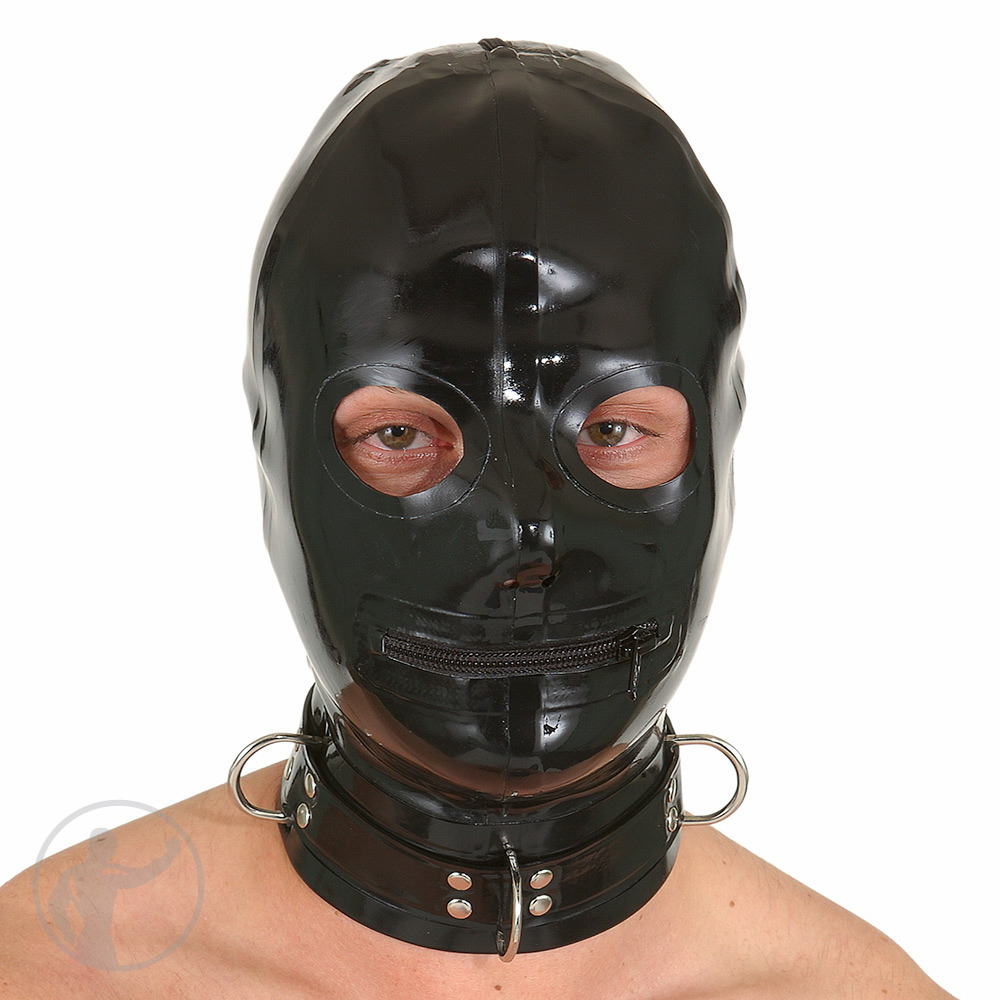 Rubber Hood Open Eyes Zip Mouth