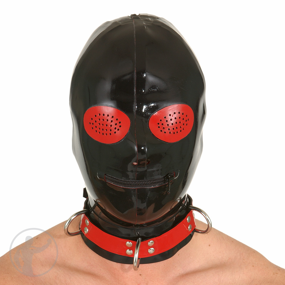 Rubber Hood Contrast Pinhole Eyes Zip Mouth