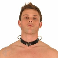 "Rubber Premium 2.5cm 1"" Slave Collar 3 D-rings"