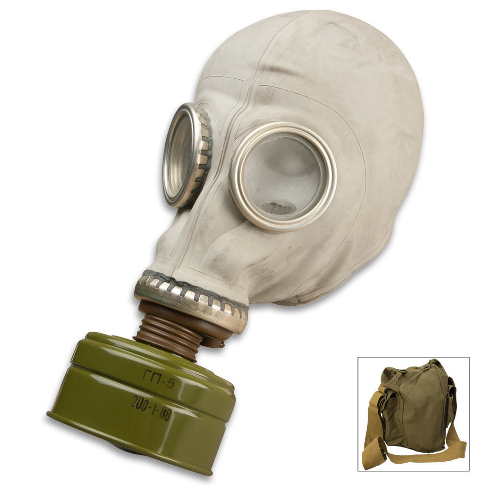 Rubber GP5 Gas Mask with sealed filter and carrying bag