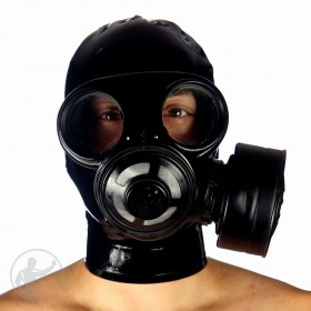Rubber Gas Mask With Attached Hood