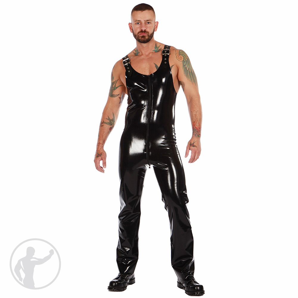 Rubber Dungarees With Thru Zip