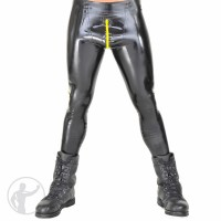Rubber Leggings Zip Front Pouch