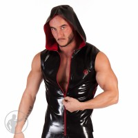 Rubber Sleeveless Hooded Top