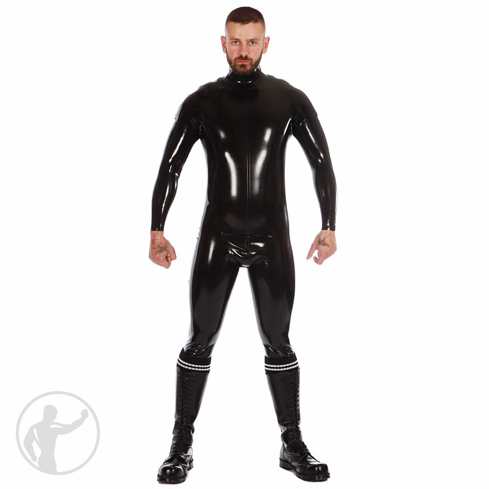 Rubber Zip Shoulder Catsuit with Cod Piece