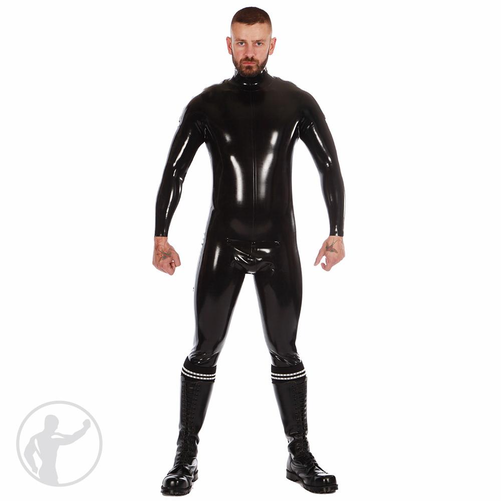 Rubber Zip Shoulder Catsuit with Cod Piece