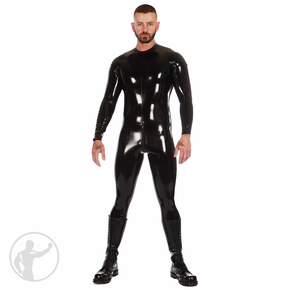 Rubber Neck Entry Catsuit Crotch Zip