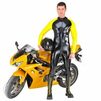 Rubber Raglan Sleeve Catsuit Thru Zip