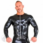 Rubber T-Shirt Long Sleeves Front Zip