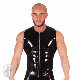 Rubber T-Shirt Sleeveless Front Zip