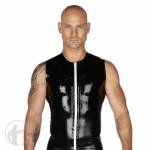 Rubber Sleeveless T-Shirt Contrasting Front Zip