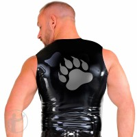 Rubber T-Shirt Sleeveless With Bear Paw Emblem