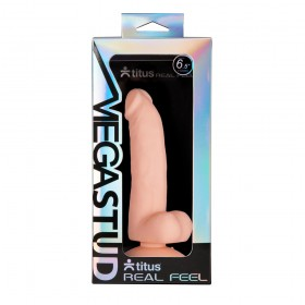 "Titus MEGASTUD Real Feel Duo Density Dildo with Suction Cup - 6.5"" Slimline"