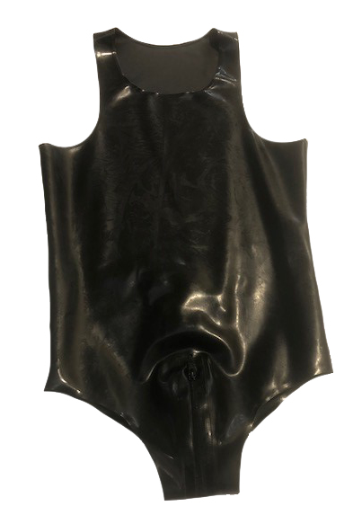 Rubber Leotard Crotch Thru zip Medium