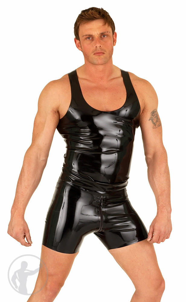 Rubber Tank Top & Thru Zip Boxer Shorts Set