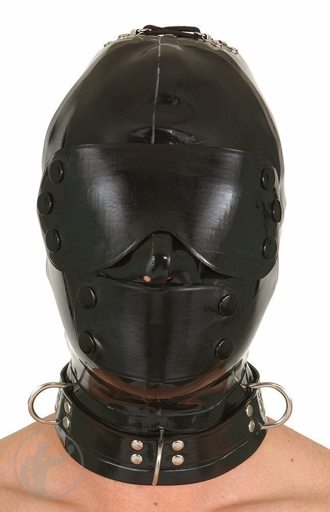Rubber Hood Blindfold & Mouth Cover Lace Up Back