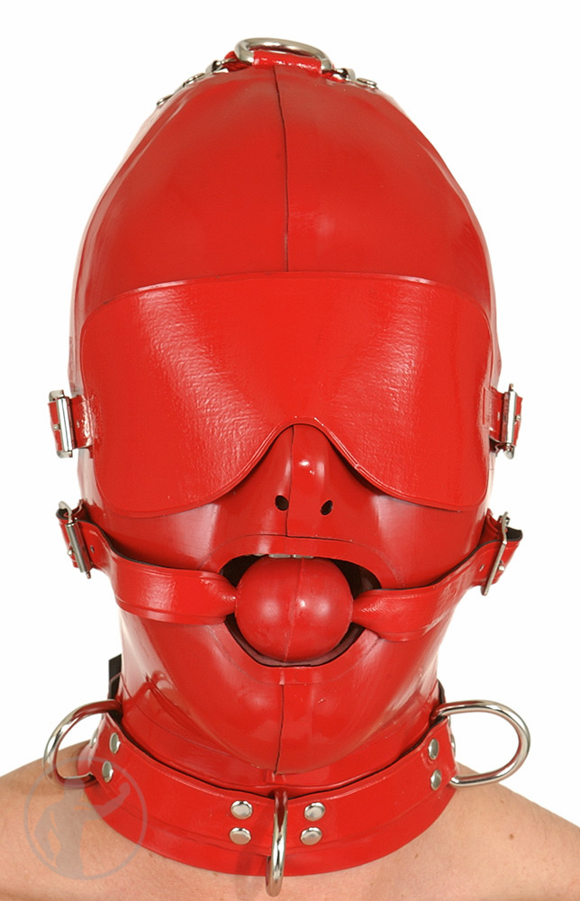Rubber Hood Buckle Blindfold & Ball Gag