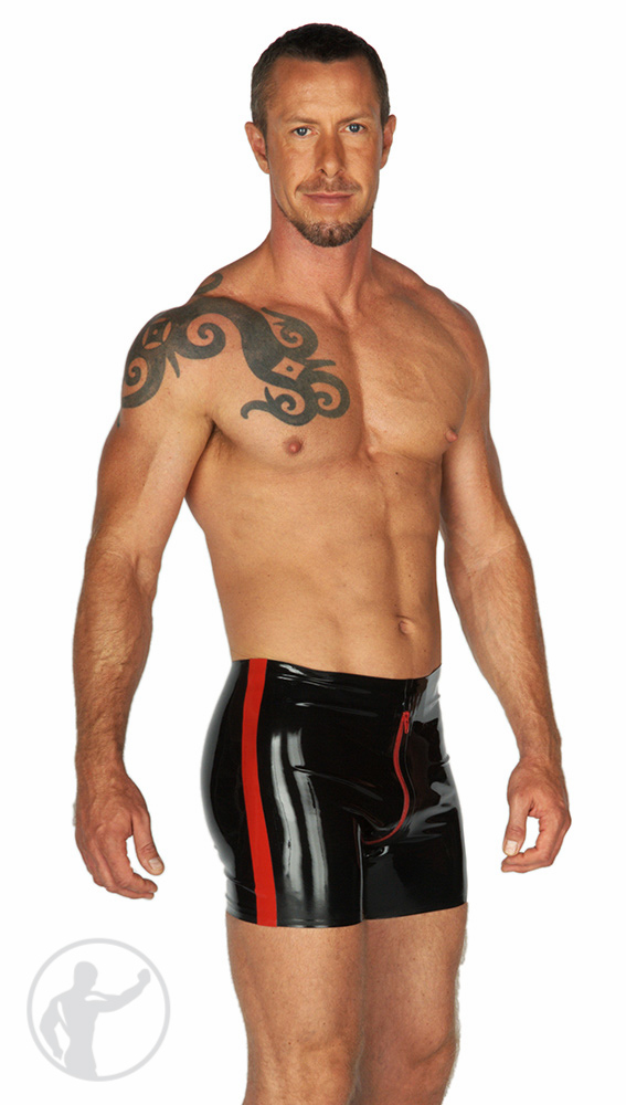Rubber Boxer Shorts Contrasting Crotch zip