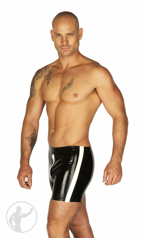 Rubber Boxer Shorts Contrasting Thru Zip