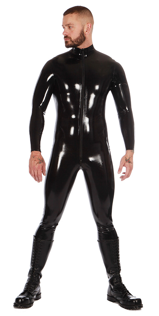 Rubber Catsuit With Front Zip